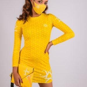 vestido max jaune